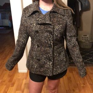 Leopard pea coat in Great Condition